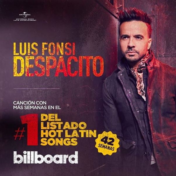 Photo of 'Despacito' de Luis Fonsi lidera el 'Hot Latin Songs de 'Billboard'