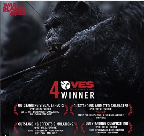 Photo of 'La guerra del planeta de los simios' es la ganadora de los Premios VES
