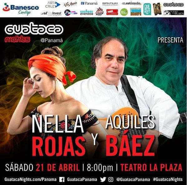 Photo of Nella Rojas y el maestro Aquiles Báez en concierto