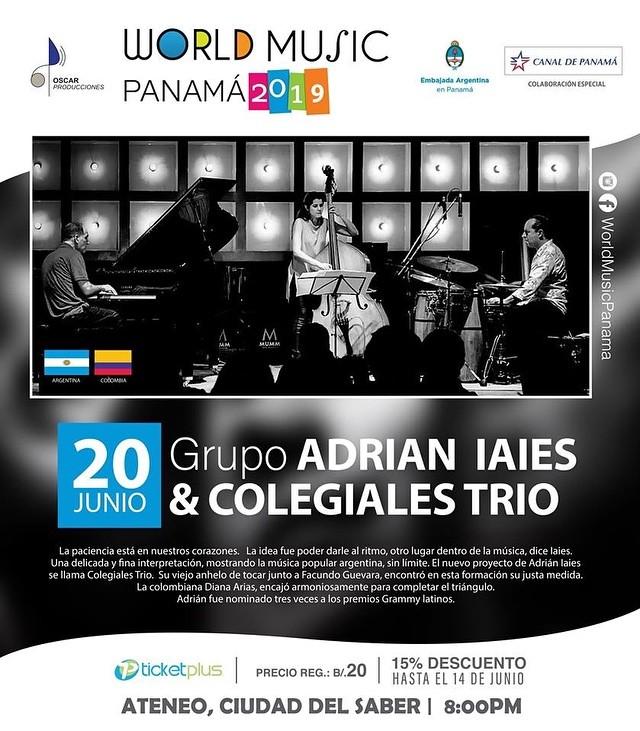 Photo of World Music Panamá presenta 'Adrian Iaies & Colegiales Trio'