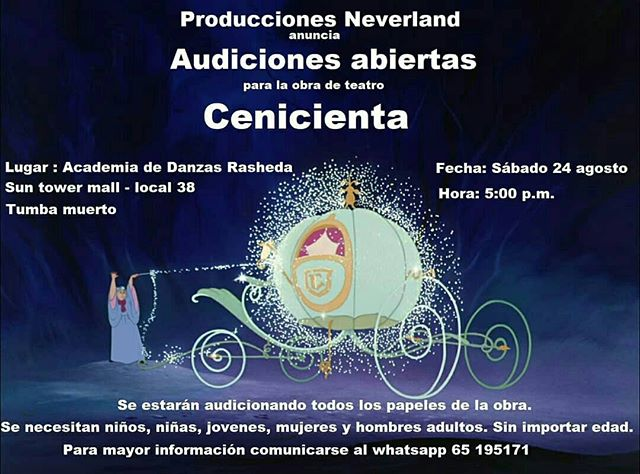Photo of Audiciones para la obra «Cenicienta»