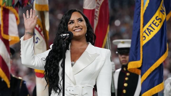 Photo of Demi Lovato interpreto el himno de Estados Unidos en el Super Bowl