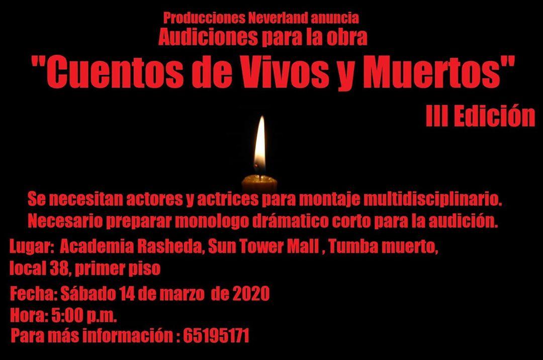 Photo of ¡Atención! Audiciones para la tercera edición de «Cuentos de vivos y muertos»