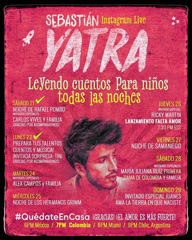 Photo of ¡Instagram Live! con Sebastián Yatra Live todas las noches hasta el 29 de marzo