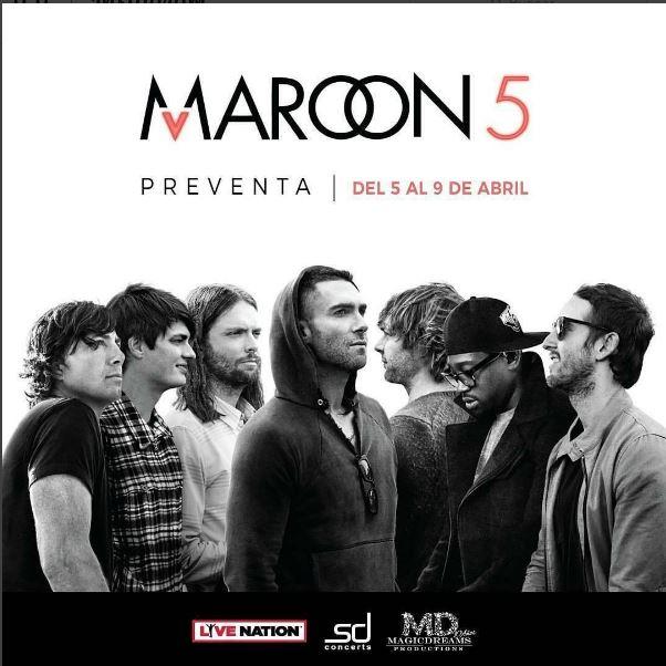 Photo of Hasta hoy Preventa para el concierto de Maroon 5