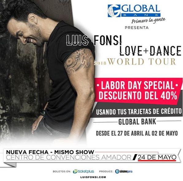 Photo of Descuentos en boletos para concierto de Luis Fonsi en Panamá