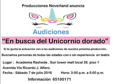Photo of Audiciones para la obra «En busca de Unicornio dorado»
