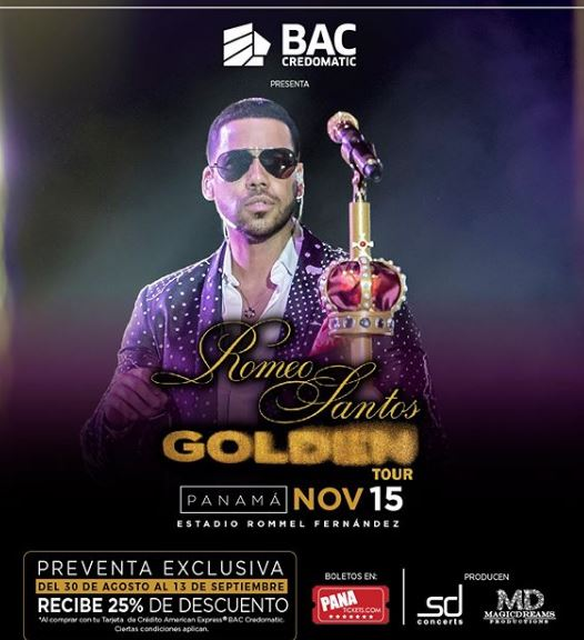 Photo of Preventa exclusiva para el concierto de Romeo Santos en Panamá