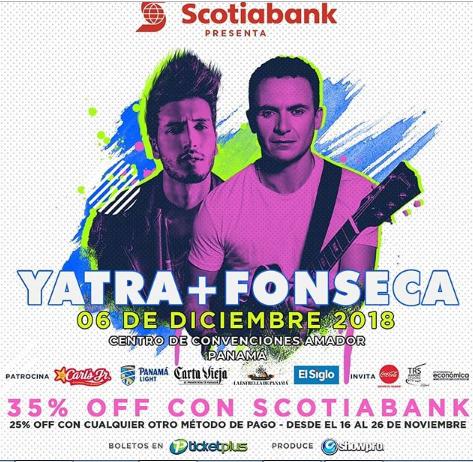 Photo of Descuento para el concierto de Sebastián Yatra y Fonseca en Panamá