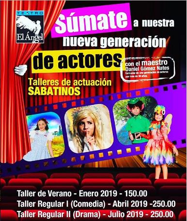 Photo of Teatro el Ángel brindará los 'Talleres de actuación sabatinos'