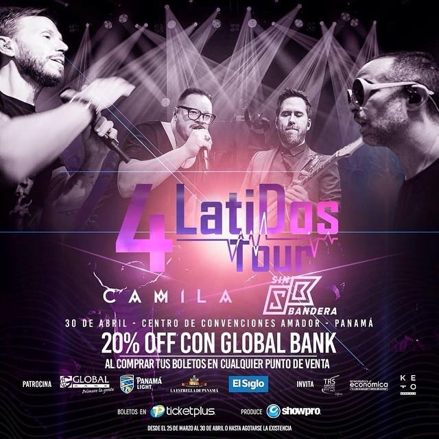Photo of '4 Latidos Tour' en Panamá con Camila y Sin Bandera