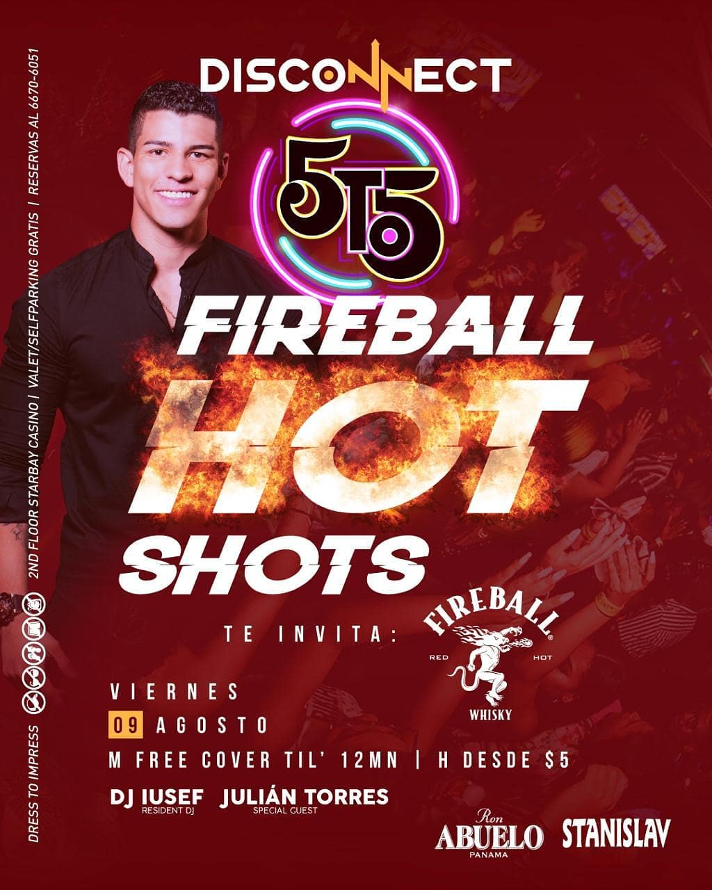 Photo of La disco 5to5 Panamá presenta este viernes 09 de agosto un show 'Fireball Hot Shots'