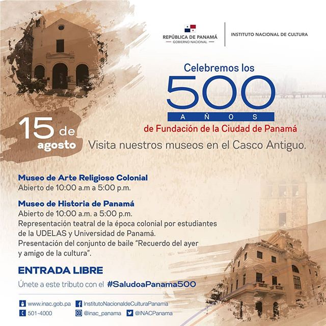 Photo of Te invitamos a los museos en Casco Antiguo con motivo a la celebración de los 500 años de Fundación de la ciudad de Panamá