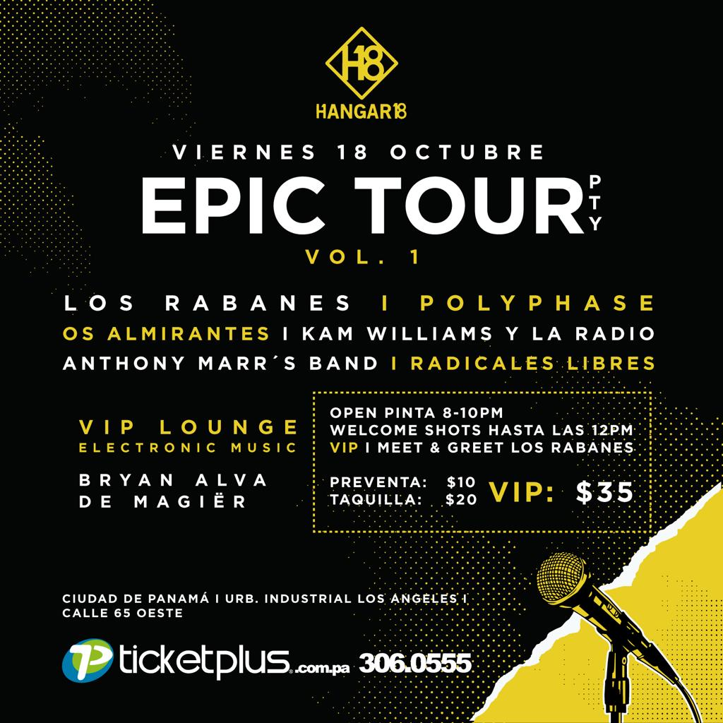 Photo of 'Epic Tour Pty' en Hangar 18 con Los Rabanes, Polyphase, Os Almirante y Kam Williams.